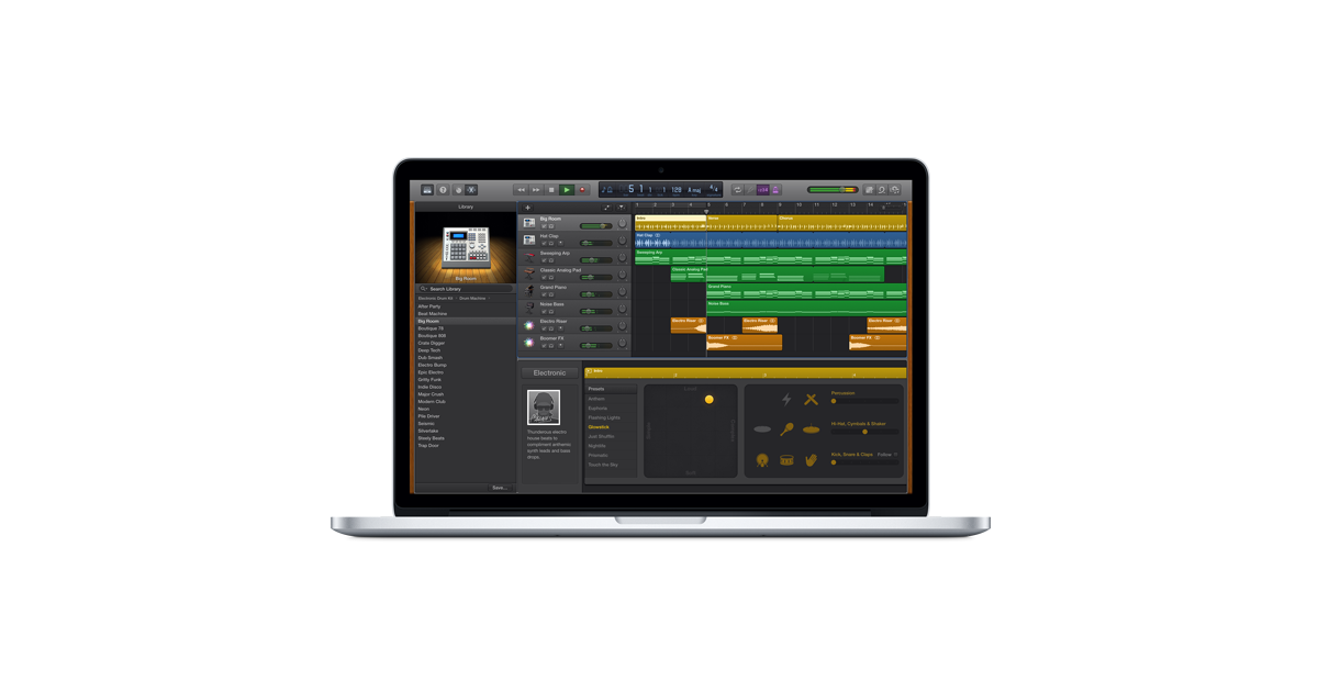 GarageBand on a MacBook Pro.